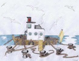 Poster Acrylgrafik - fest vertäut - Schlepper mit Haltetauen