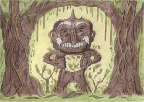 Holzfigur im Wald - Frontalansicht Hintergrundbild grafische Kulisse