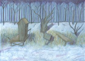 vereistes Seeufer im Winter mit Bootsstegen - grafischer Hintergrund