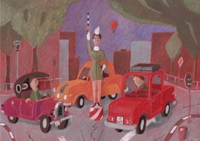 Poster Starker Verkehr - Kreisverkehr - Acrylgrafik auf rotem Karton