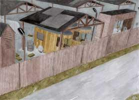 Strassenrand 1 - Bretterwand, Fahrzeuge und Gebäude aus Holz - gezeichnetes Hintergrundbild