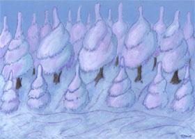 Winterwald - Bäume im Schnee - grafischer Hintergrund
