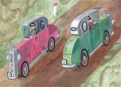 Oldtimer Poster 1 - zwei Oldtimer begegnen sich auf der Landstraße - rot grün Kontrast -kostenloses Poster zum Download