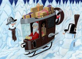 Weihnacht 2, Poster, JPG, Weihnachtsmann im Motorschlitten, freies Bild