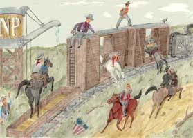 Wild West 1 Poster - Pferde, Cowboys und Eisenbahn in Aktion