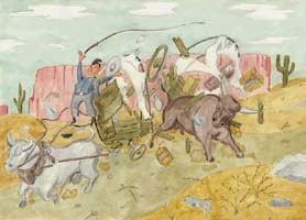 Wild West 2 Poster - Stier greift Planwagen an