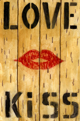 Wallpaper love and kiss, Vorschaubild/Preview JPG 320x480 Pixel