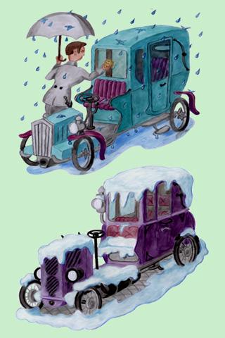 Wallpaper Old Car 1, Vorschaubild/Preview JPG 320x480 Pixel, grüner Hintergrund