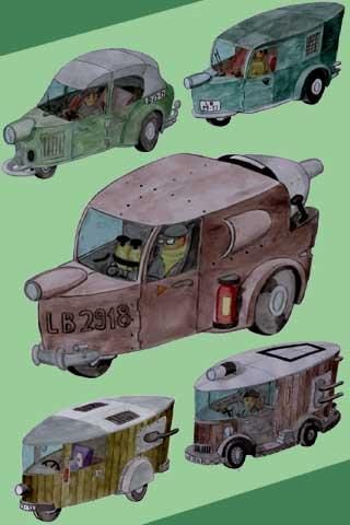 Wallpaper old car 5, Vorschaubild/Preview JPG 320x480 Pixel, grüner Hintergrund