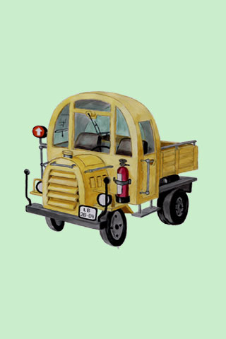 Wallpaper old truck 2, Vorschaubild/Preview JPG 320x480 Pixel, grüner Hintergrund