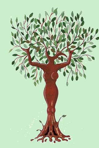 Wallpaper Baumfrau 3, Vorschaubild/Preview JPG 320x480 Pixel, grüner Hintergrund