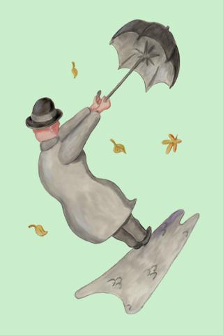 Wallpaper Mann mit Schirm, Vorschaubild/Preview JPG 320x480 Pixel, grüner Hintergrund