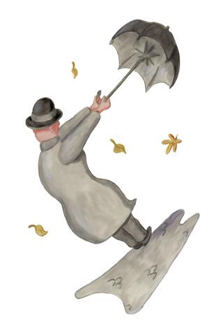 Wallpaper Mann mit Schirm, Vorschaubild/Preview JPG 320x480 Pixel, weisser Hintergrund