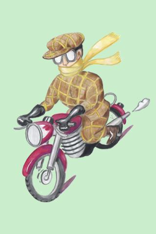 Wallpaper Motorradfahrer 3, Vorschaubild/Preview JPG 320x480 Pixel, grüner Hintergrund