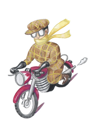 Wallpaper Motorradfahrer 3, Vorschaubild/Preview JPG 320x480 Pixel, weisser Hintergrund