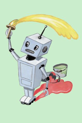 Wallpaper Roboter mit Farbe, Vorschaubild/Preview JPG 320x480 Pixel, grüner Hintergrund