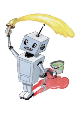 Wallpaper Roboter mit Farbe, Vorschaubild/Preview JPG 320x480 Pixel, weisser Hintergrund