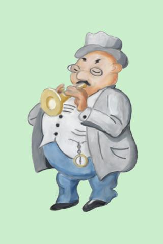 Wallpaper Trompeter, Vorschaubild/Preview JPG 320x480 Pixel, grüner Hintergrund